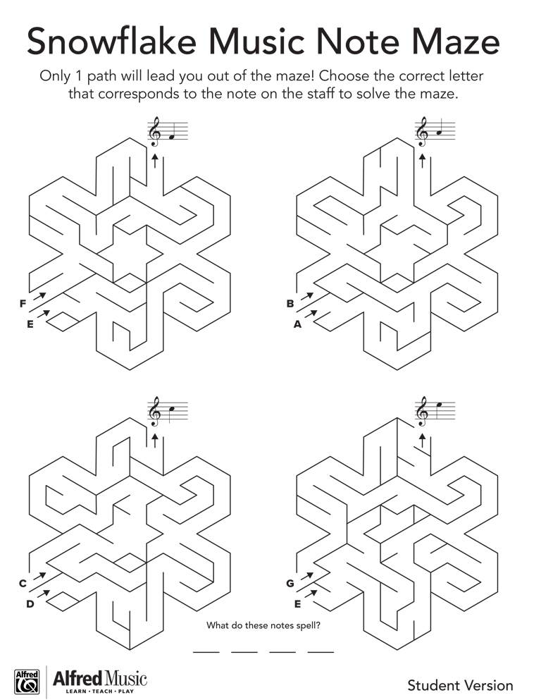 Snowflake Music Note Maze Activity
